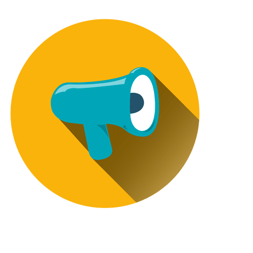 Vector megaphone svg. Circle icon yellow and