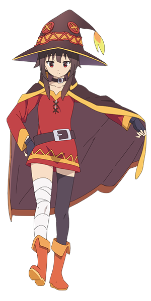 Megumin arms out png. Konosuba protagonists characters tv