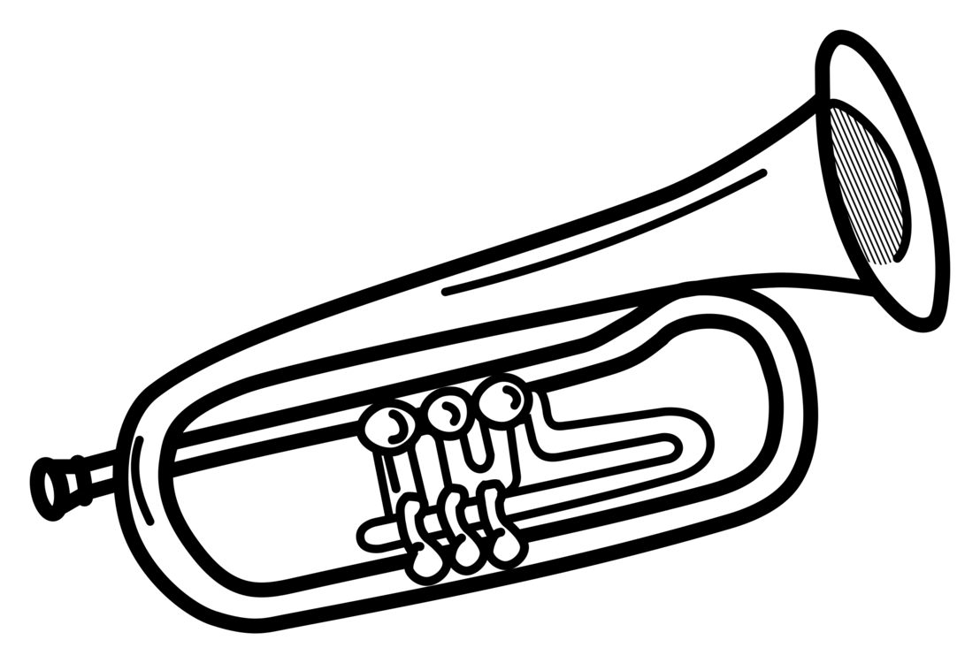 Mellophone drawing trumpet. Brass instruments flugelhorn musical