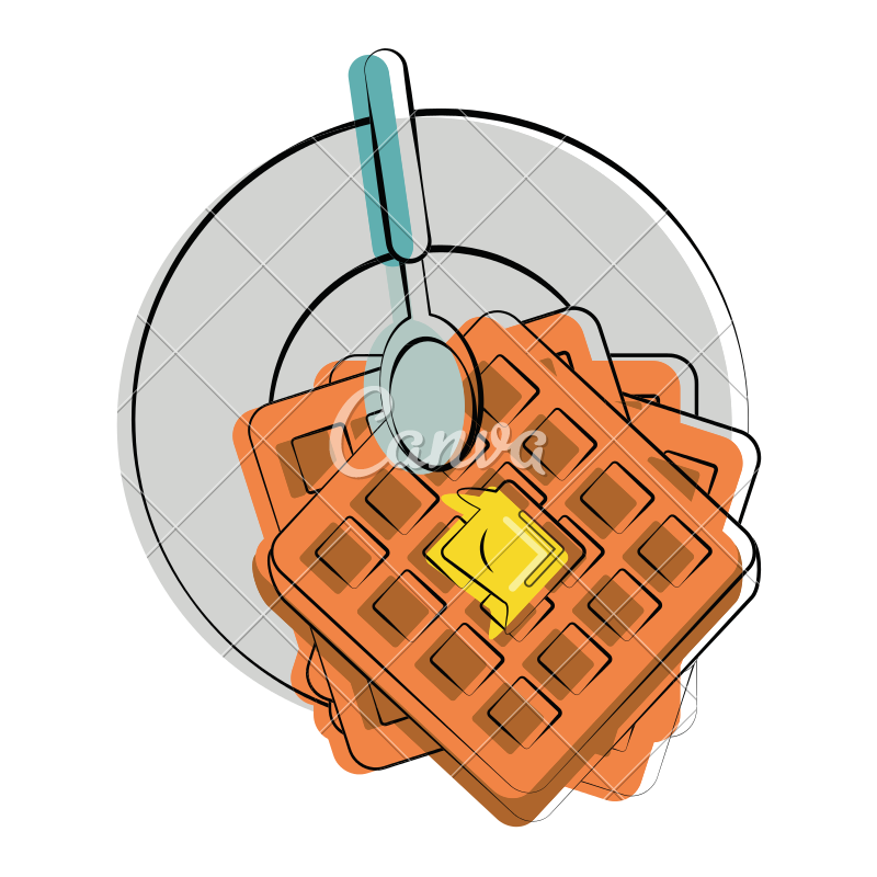 Melting vector butter. Waffle with icons by