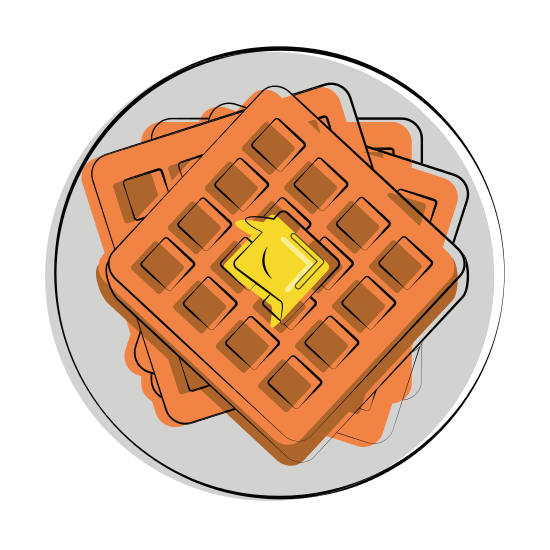 Melting vector butter. Waffle with on it