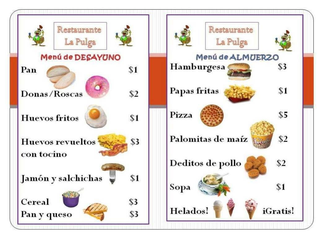 Menu clipart menu spanish. Kid free mostly templates