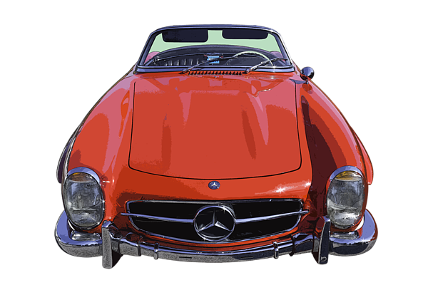 Mercedes drawing 300sl. Classic red benz sl