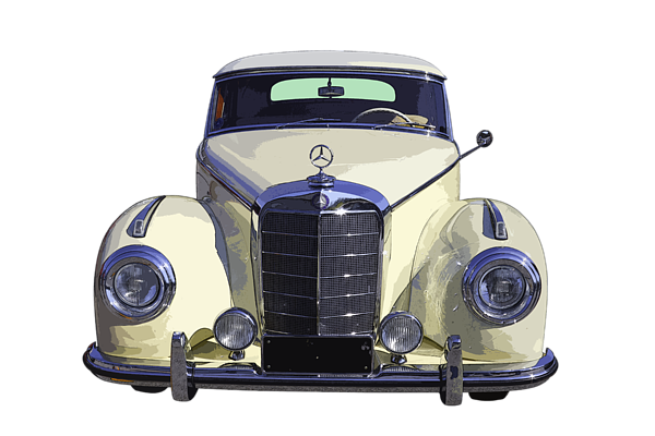 Mercedes drawing antique car. Classic white benz kids
