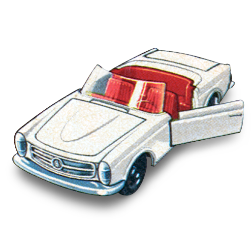 Mercedes drawing architecture. Matchbox car icons by