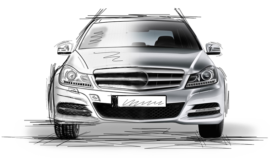 Mercedes drawing realistic. Parts and accessories oem