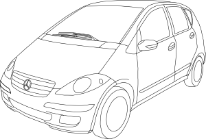 Mercedes drawing. Benz class a outline