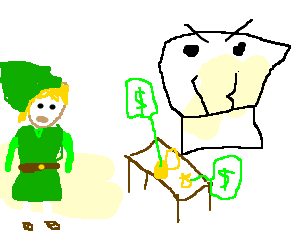 Merchant drawing line. Link approaches the angry
