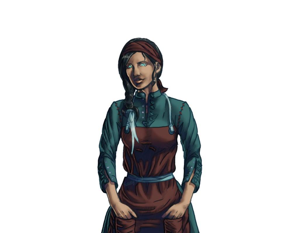 Merchant drawing medieval person. Servant female by kissmy