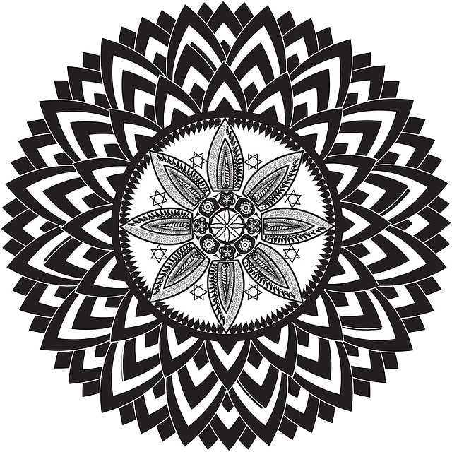 Merkaba vector black and white. August fire trine to