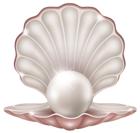 Mermaid clipart clam. Beautiful with pearl baroque