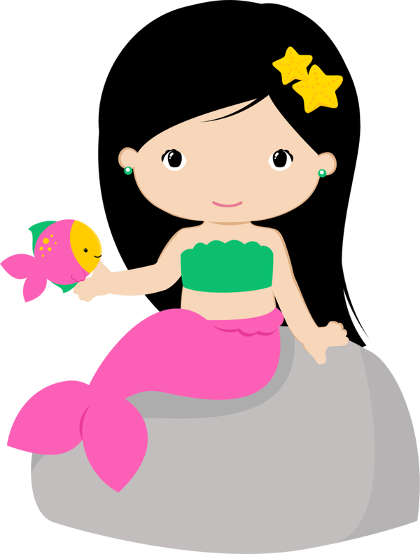 Mermaid clipart fish. Two cartoon mermaids