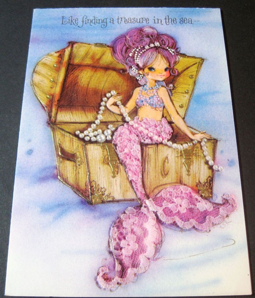 Mermaid clipart treasure. Used vintage greeting card
