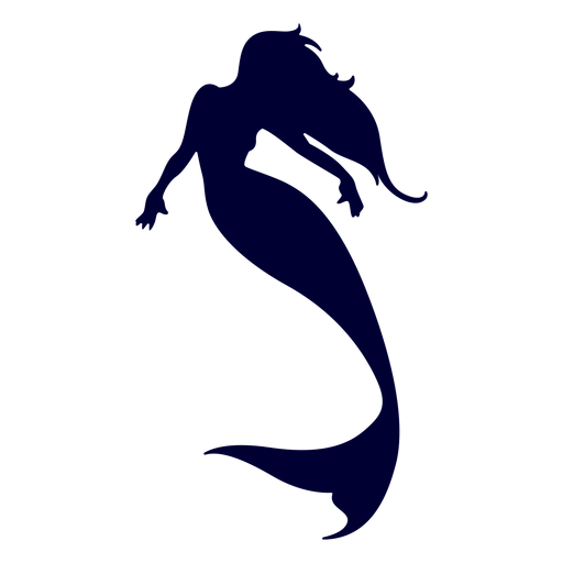 Mermaid silhouette png. Swimming transparent svg vector