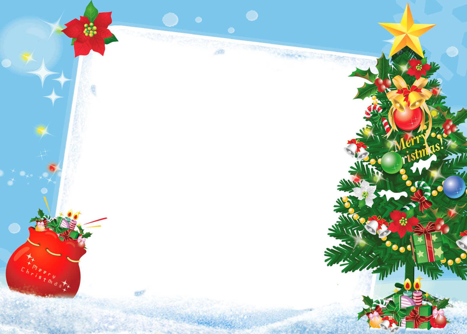 Merry frame with tree. Free christmas photo frames and borders png clip art free stock