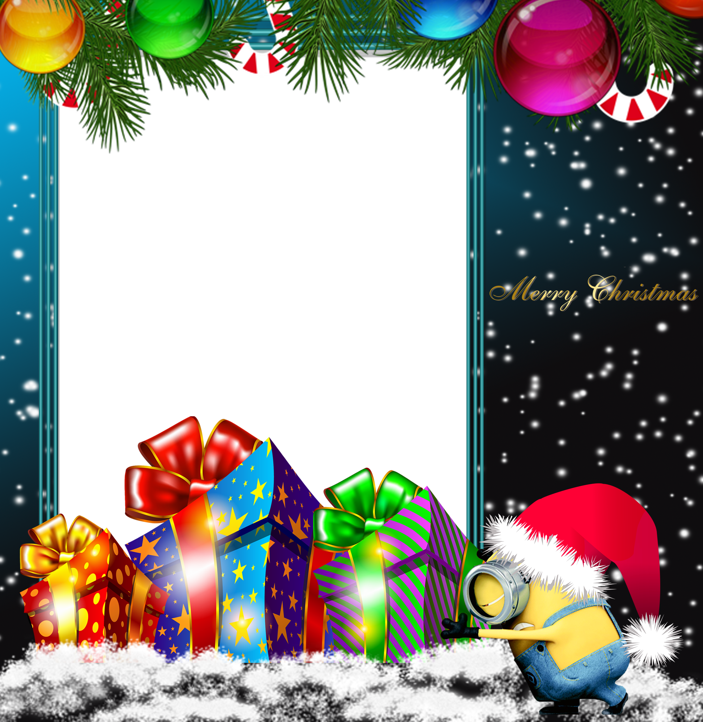 Transparent neon merry christmas. Png minion photo frame