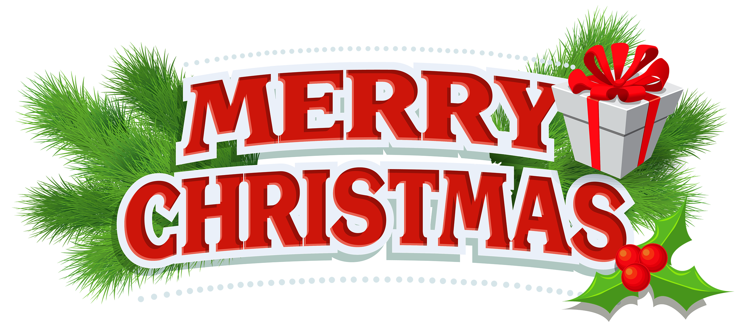 Merry christmas png happy. Decor with gift clipart