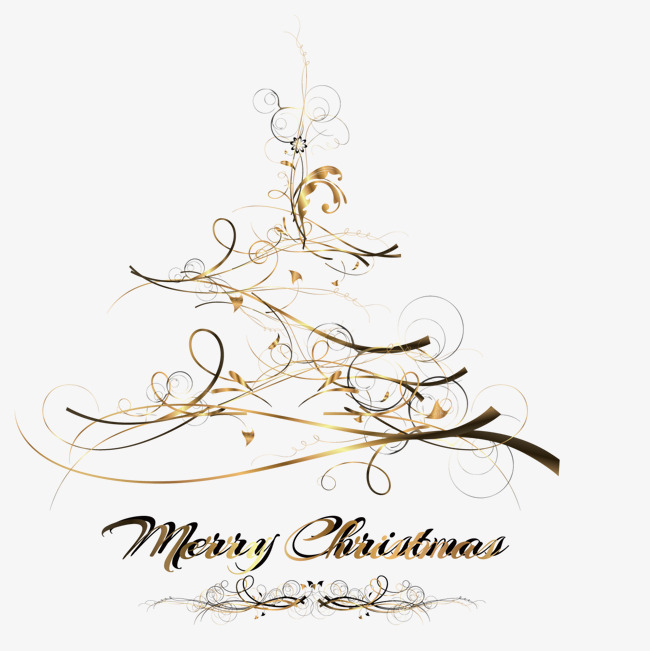 Merry Christmas Black And Gold Transparent Png Clipart Free