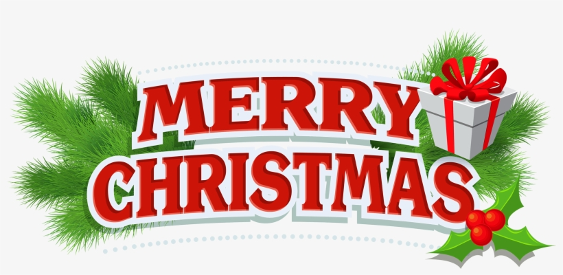 Merry christmas png logos. Decor with gift clipart