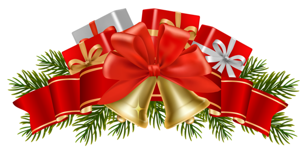 Merry christmas vector png. Transparent decor with bells