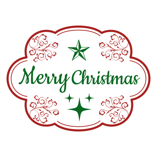 Merry christmas vector png. Decorative label transparent svg