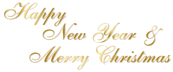 Merry christmas vintage text png. Gold happy new year