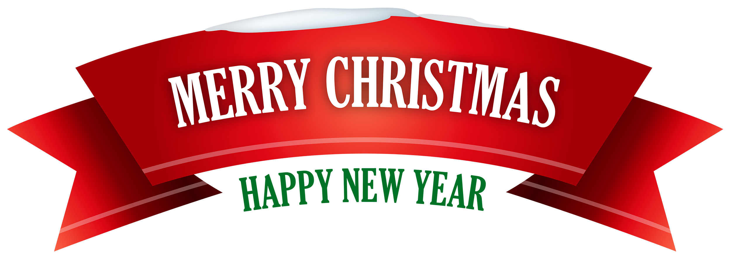 Merry christmas png. Red snowy banner clipart