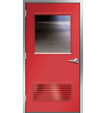 Metal door png. Hollow with half lite