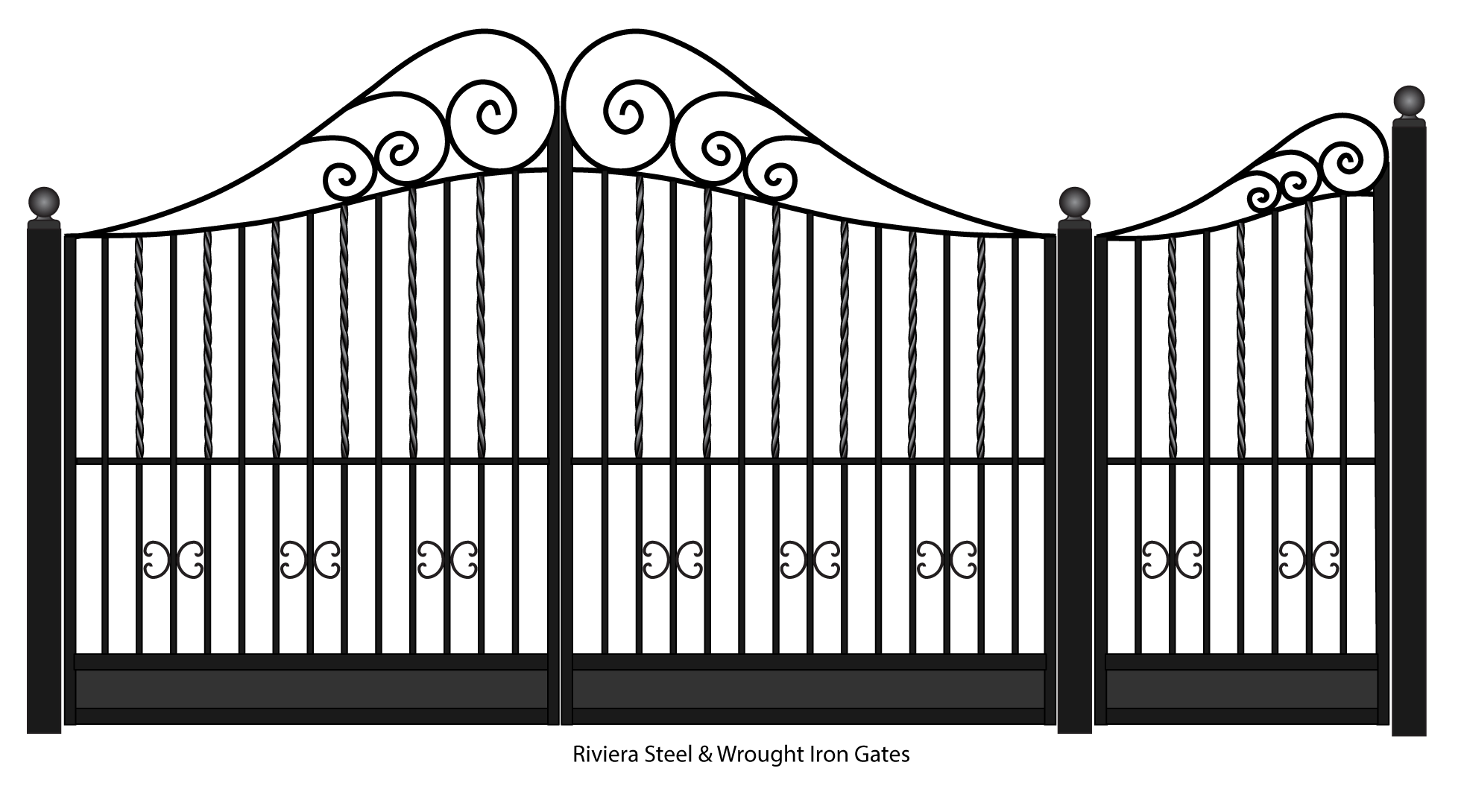 Drawing steel gates. Gate wrought iron and