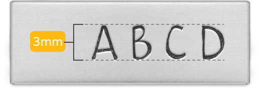 Metal stamp png. Letter guide size