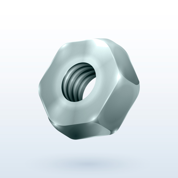 Metallic hex realistic hex nut isolated on a white background.