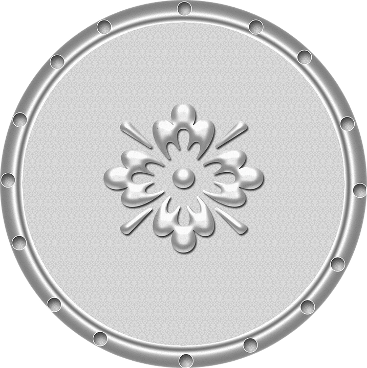 Metallic vector silver. Free photo circle button
