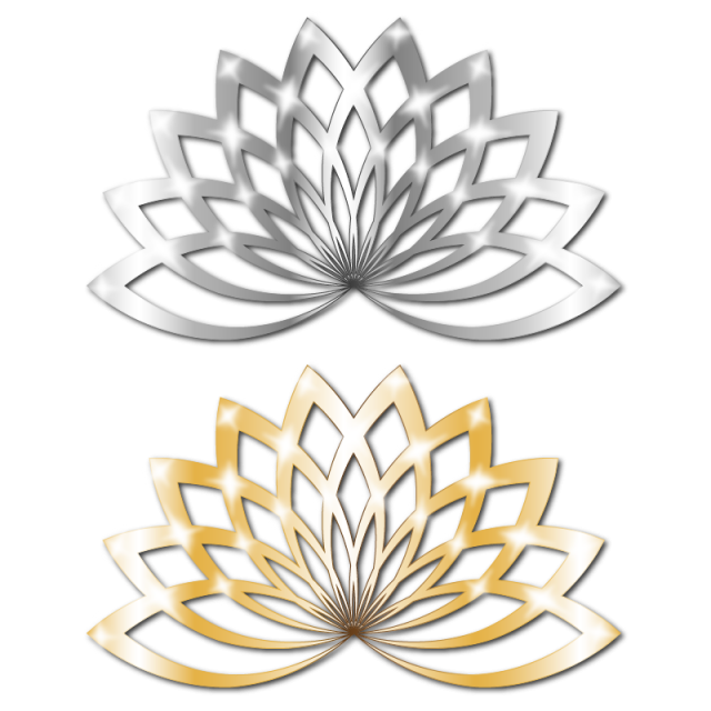 Metallic vector silver. Golden lotus floral metal