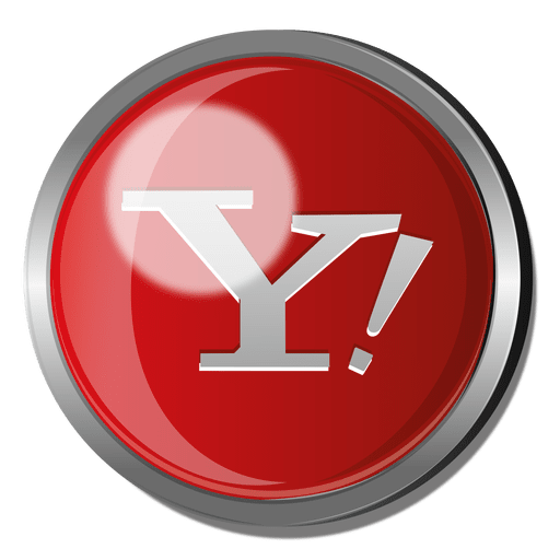 Metallic vector red. Yahoo round metal button