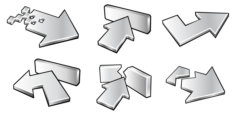 Metallic vector silver. Six d arrow icons