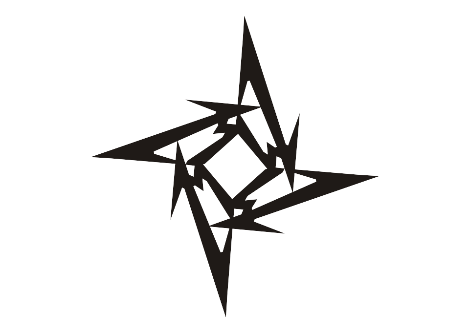 Logo ninja star vector. Metallica drawing high resolution picture black and white stock
