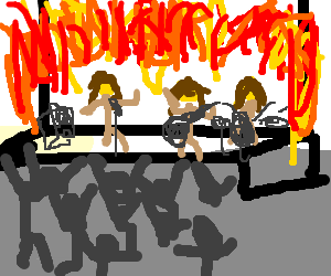 Metallica drawing cartoon. Stage on fire during