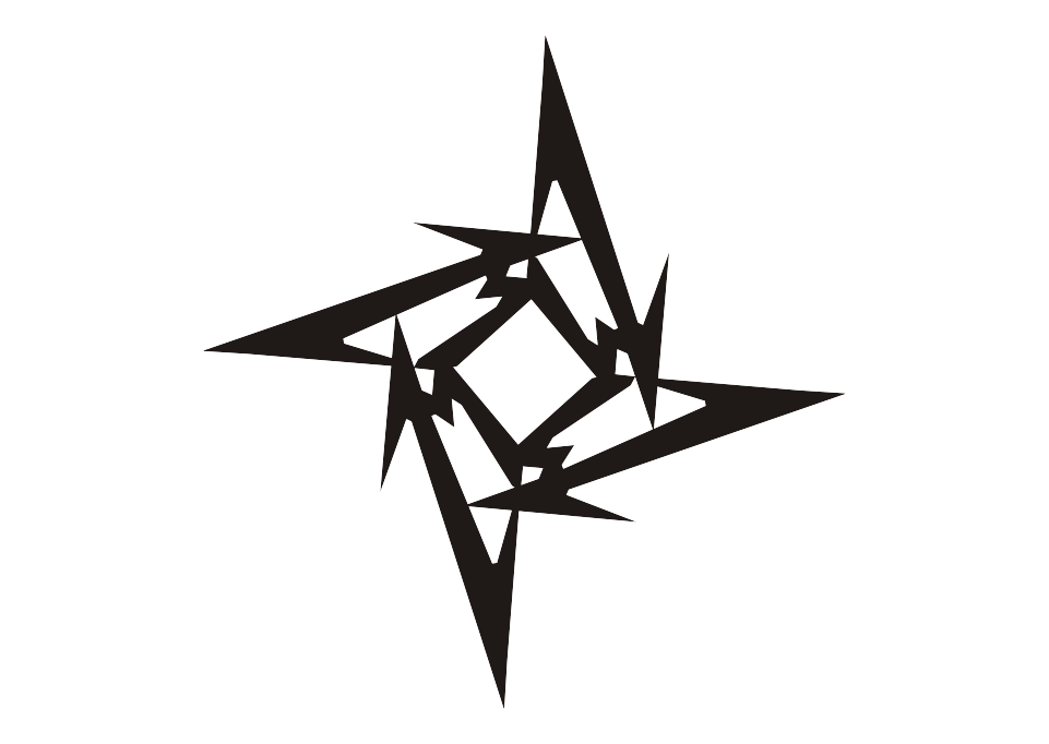 Metallica drawing symbol. Logo ninja star vector