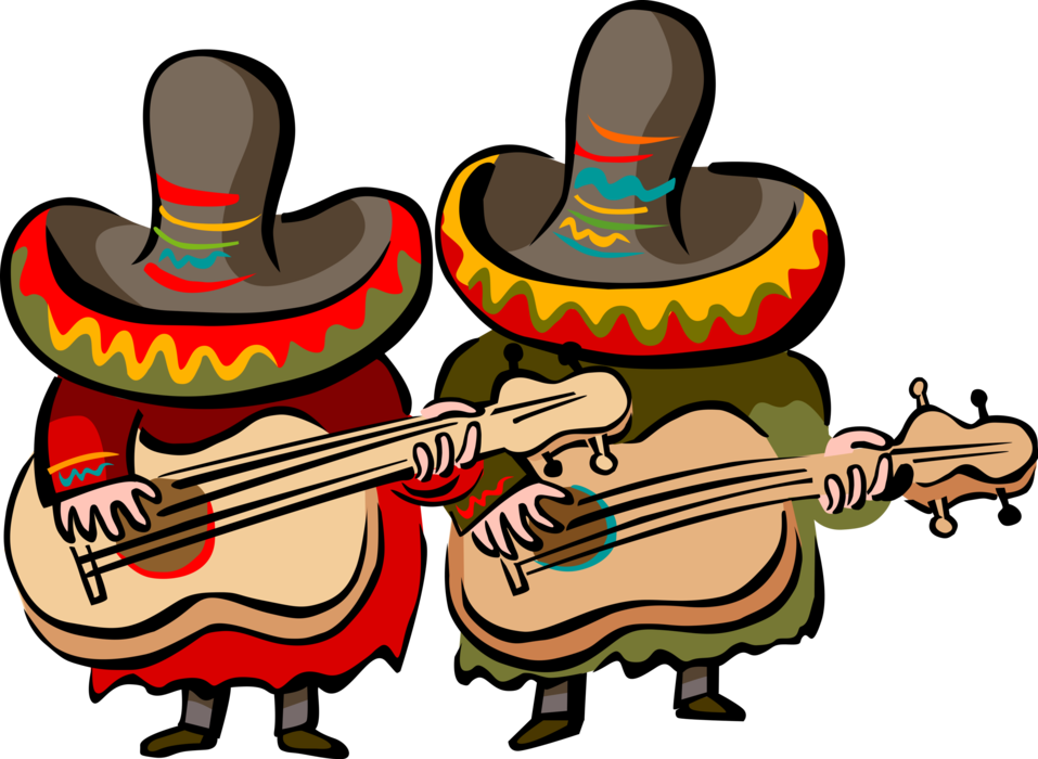 Mexican band png. Musicians play guitars vector