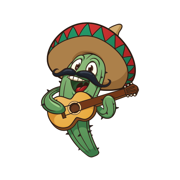 Mexican cactus png. Printed vinyl with sombrero