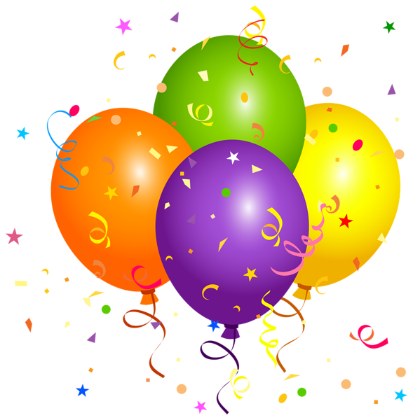Confeti globos png. Balloons with confetti clipart