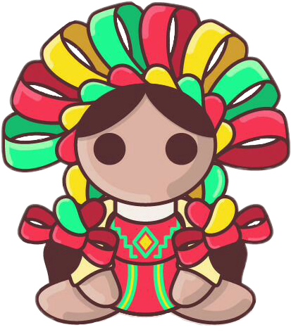 Mexican doll png. Vintage cute travel people
