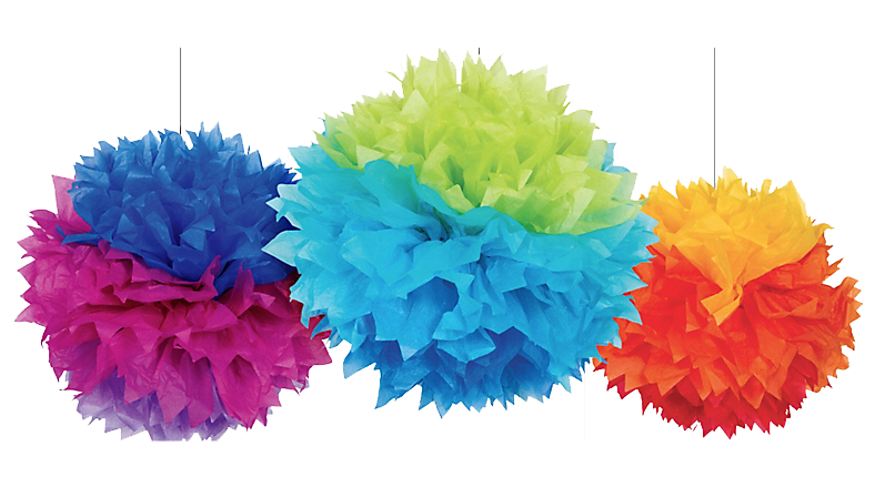 Mexican fiesta banner png. Rainbow fluffy pom decorations