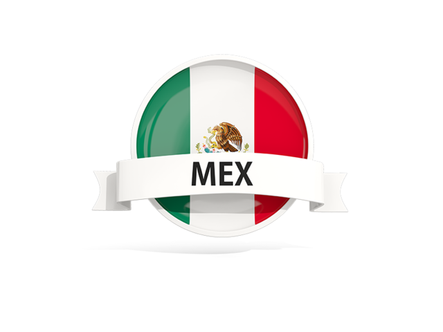 México png pin. Round flag with banner