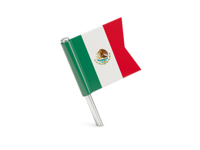 Mexican flag png. Square pin illustration of