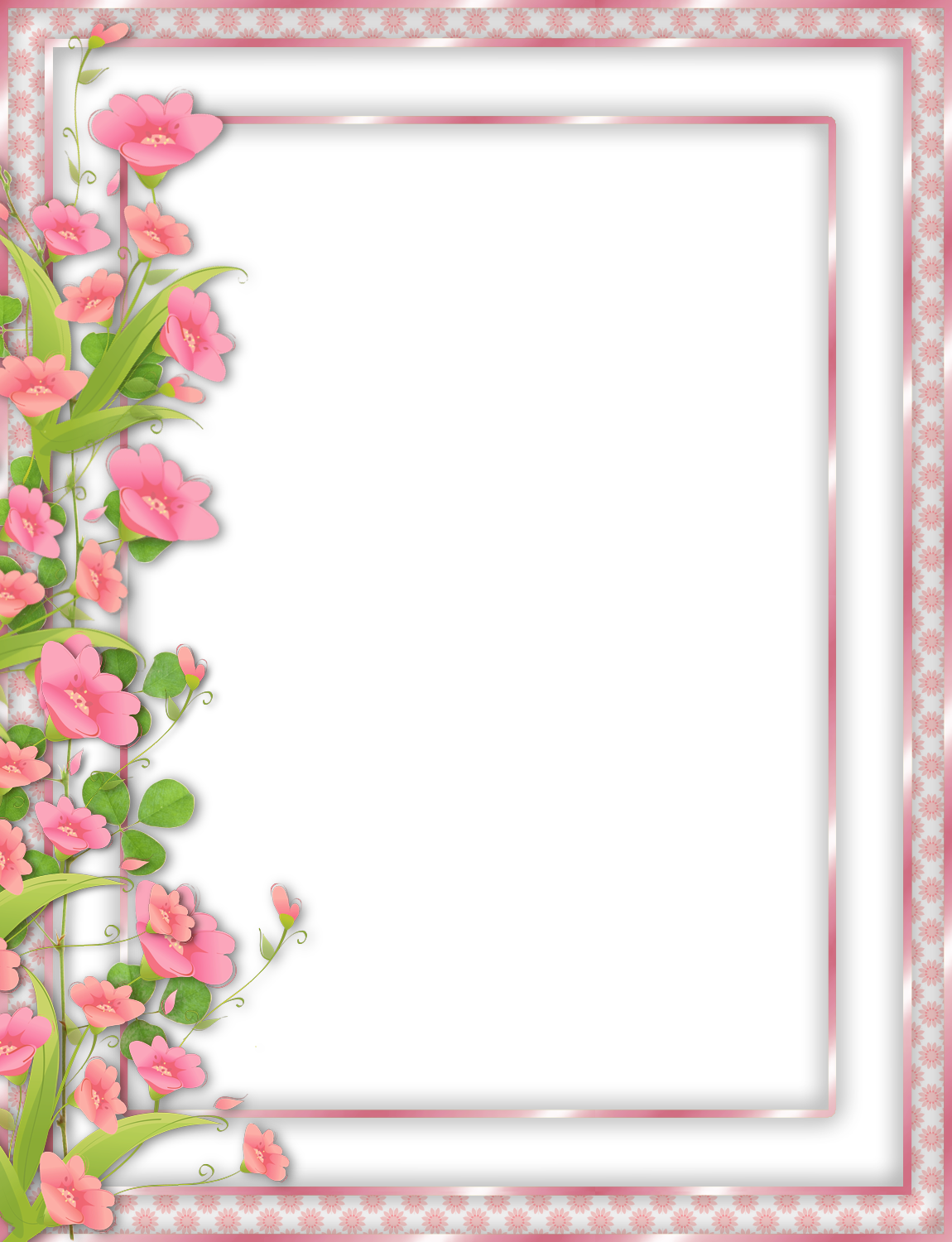Mexican flowers border png. Pink transparent frame with