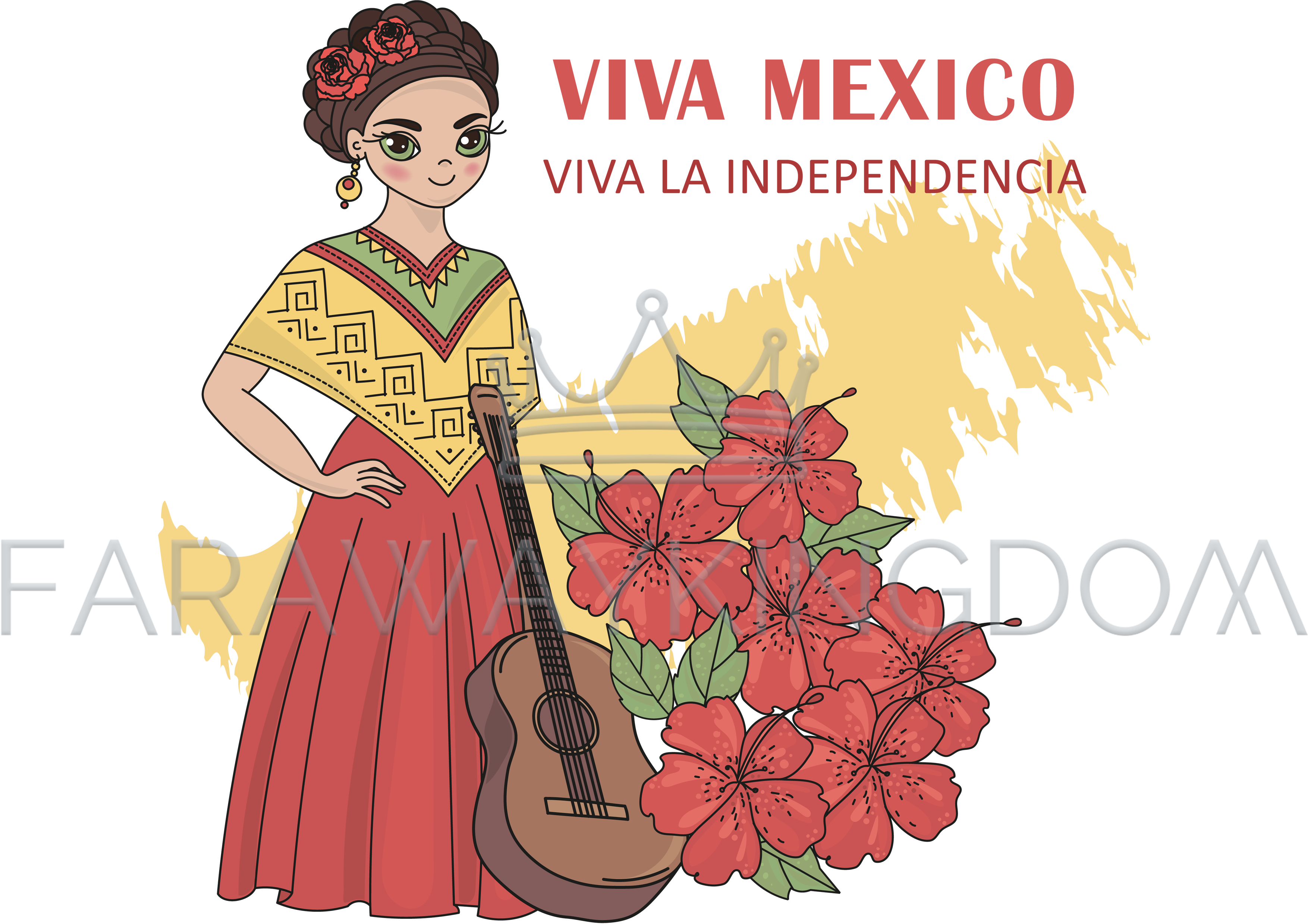 Mexican flowers vector png. Viva mexico travel illustration