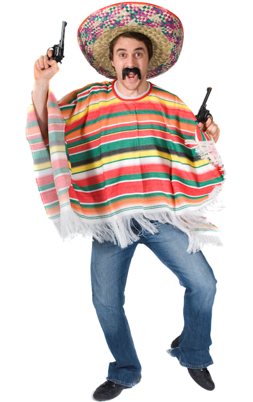 Mexican man png. Adult rainbow poncho simply