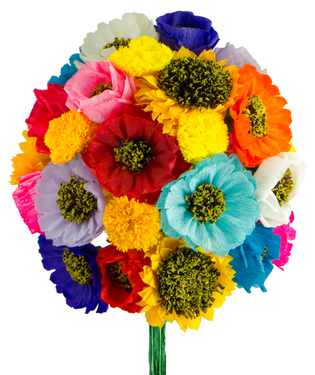 Mexican paper banner png. Flowers
