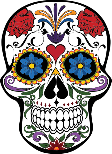 Mexican skull vector png. Floral image tattoos pinterest